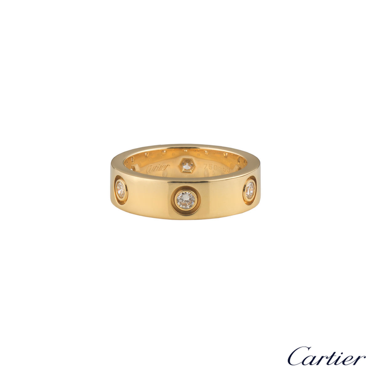 Cartier Yellow Gold Full Diamond Love Ring Size 53 B4025953